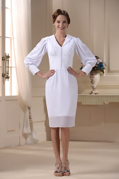 Brilliant Sheath V-neck Long-Sleeve Short/Mini-Length Mother of the Bride Dress