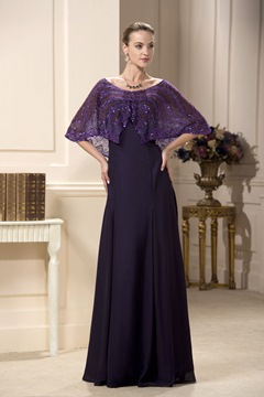 Graceful Lace Sequins Empire Waist V-Neck Floor-Length Mother of Bride Dress