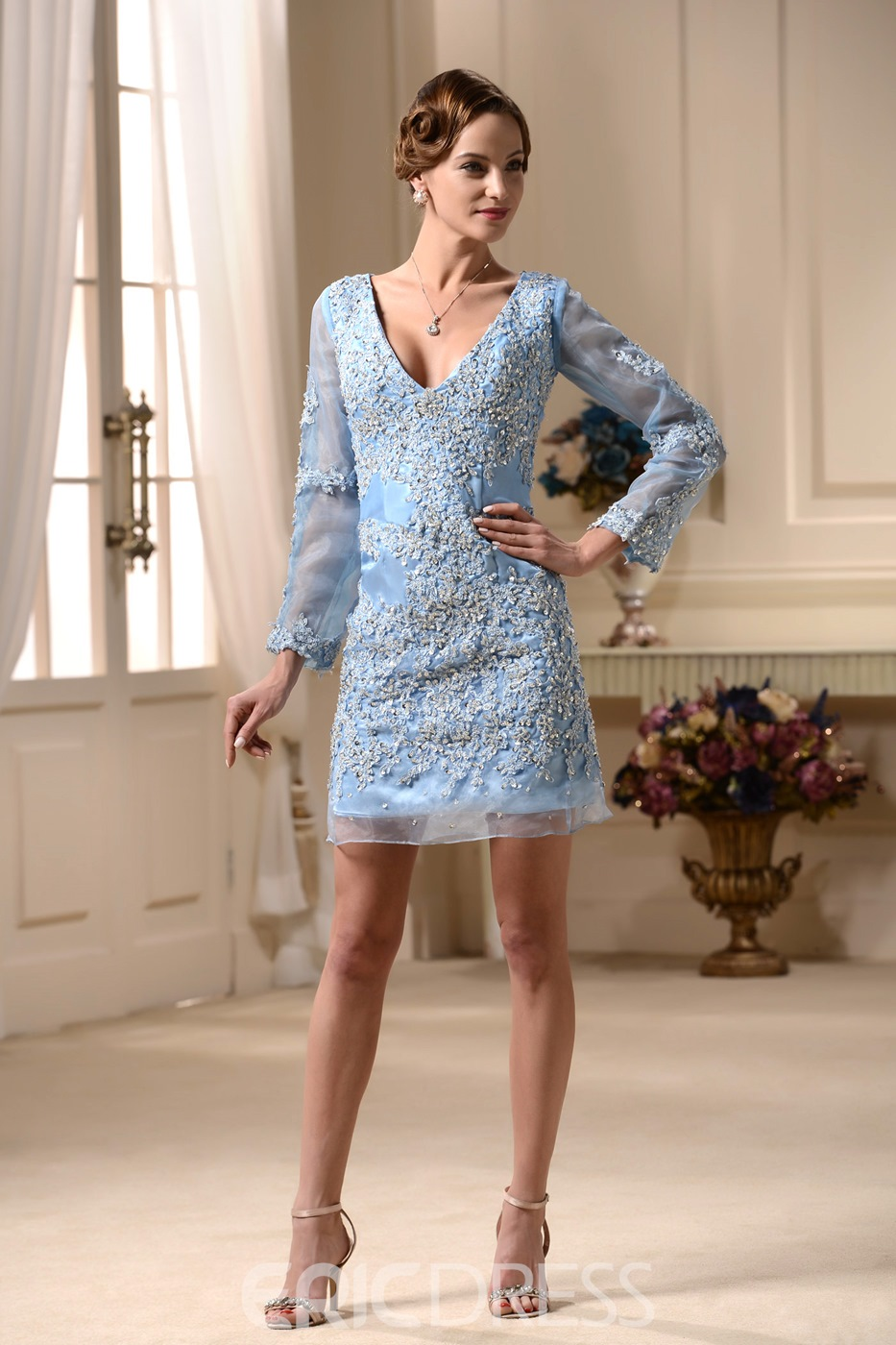Sexy Sheath/Column V-neck Long-sleeve Mini-Length Beaded Dress