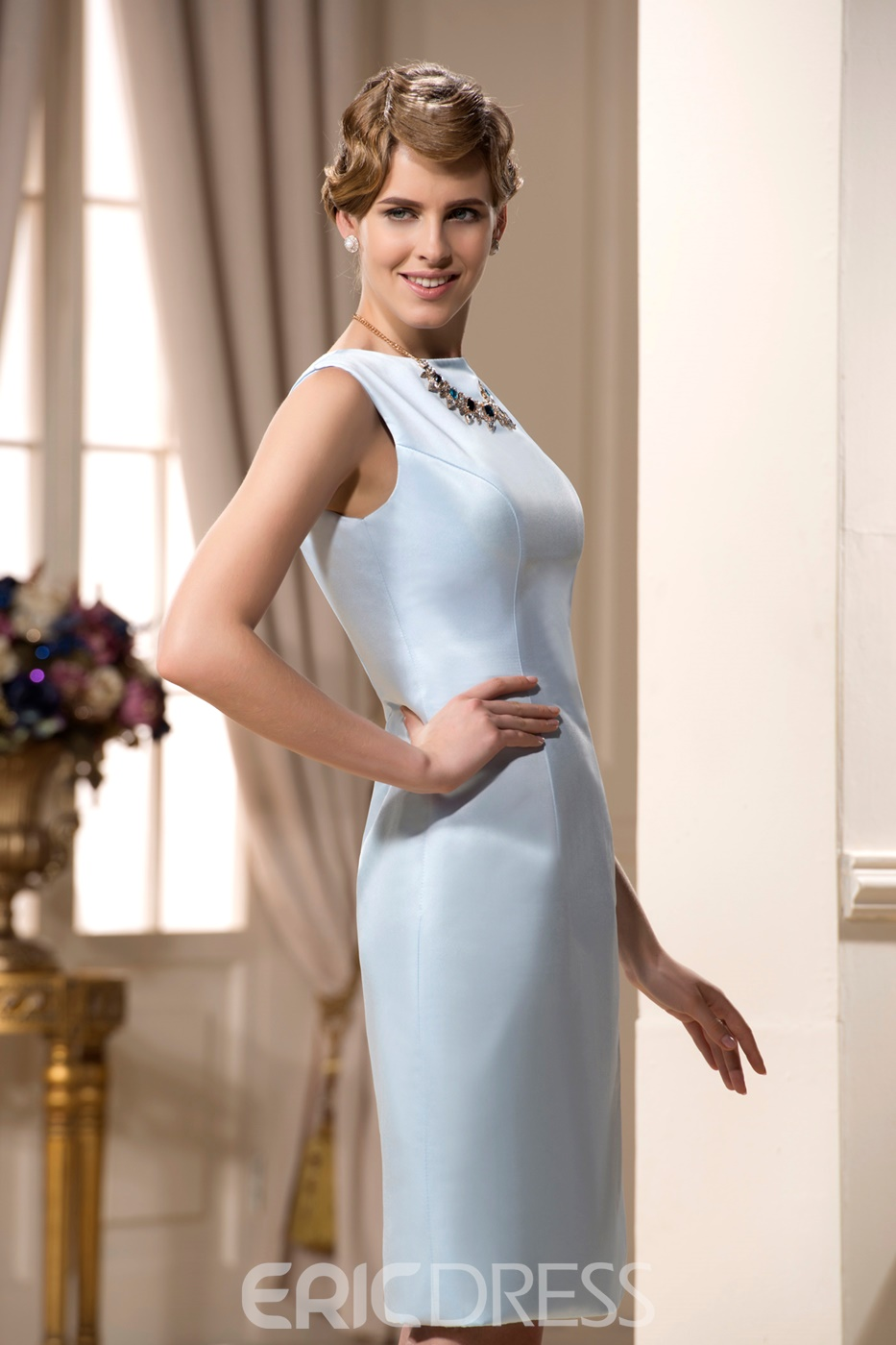 Incredible A-Line Jewel Neckline Knee-Length Mother of the Bride Dress