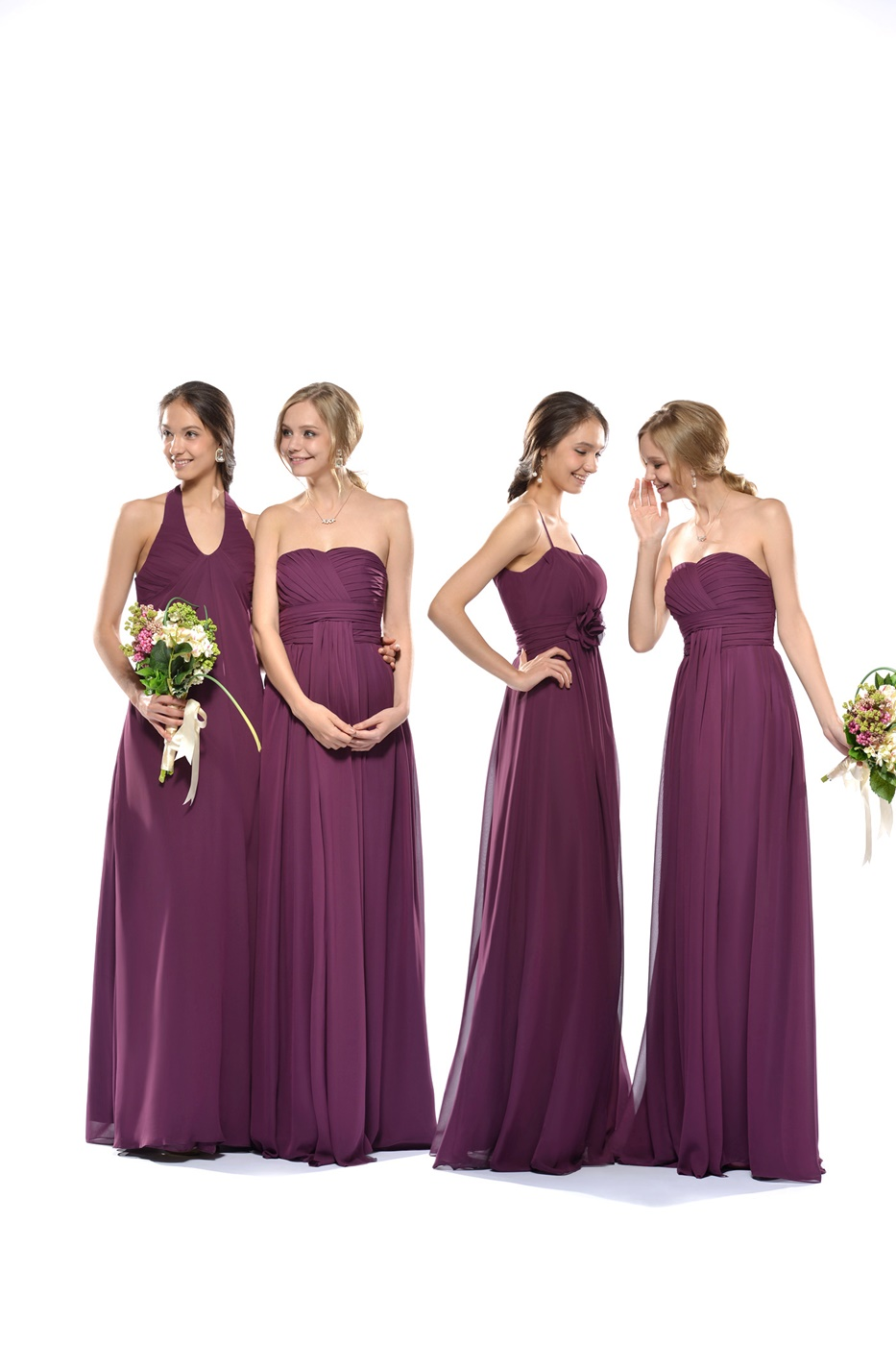Fashionable Ruched Sheath/Column Halter Floor-Length Bridesmaid Dress