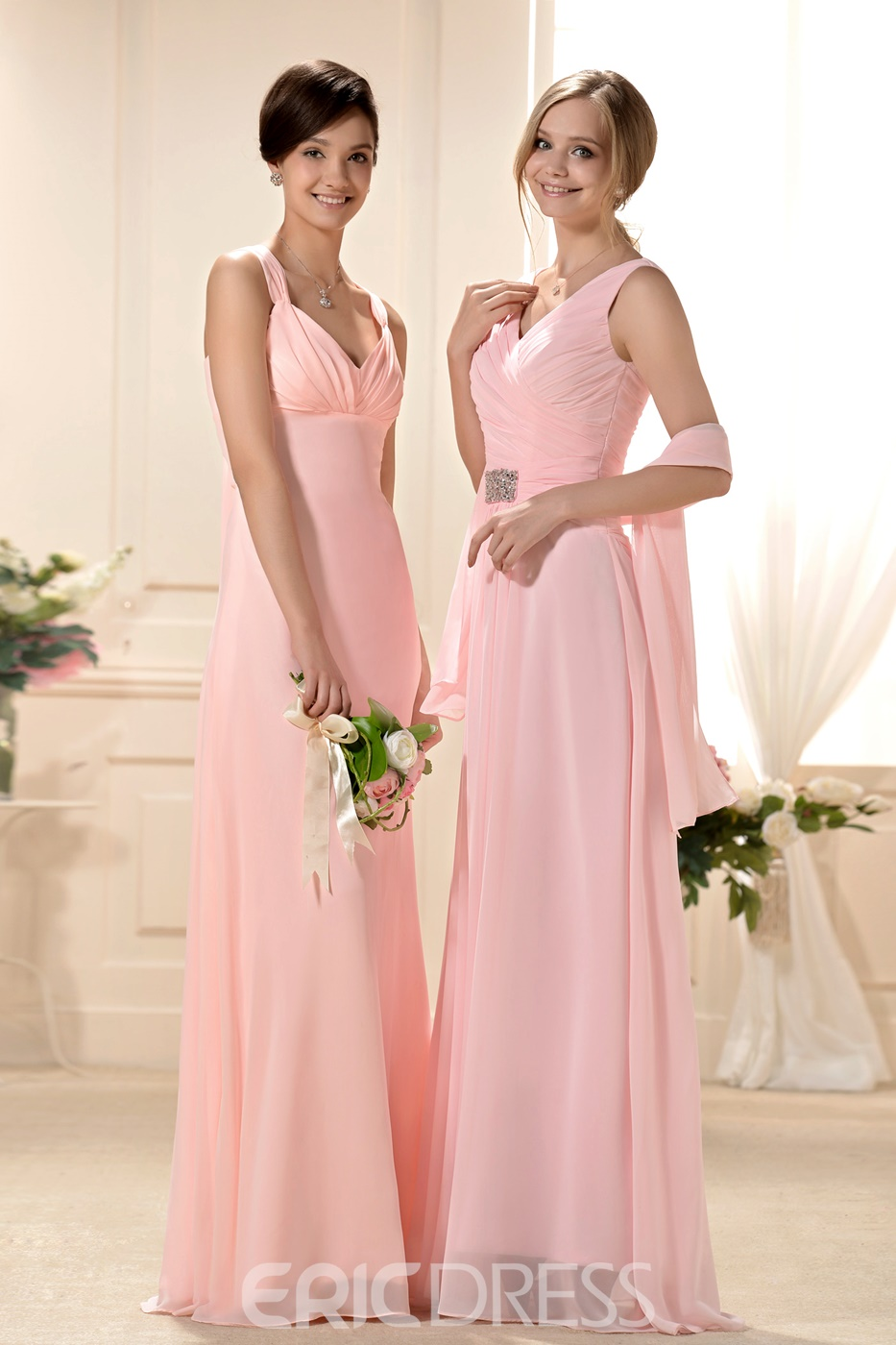 A-Line/Princess spaghetti straps Floor-Length Chiffon Bridesmaid dress for brides Design