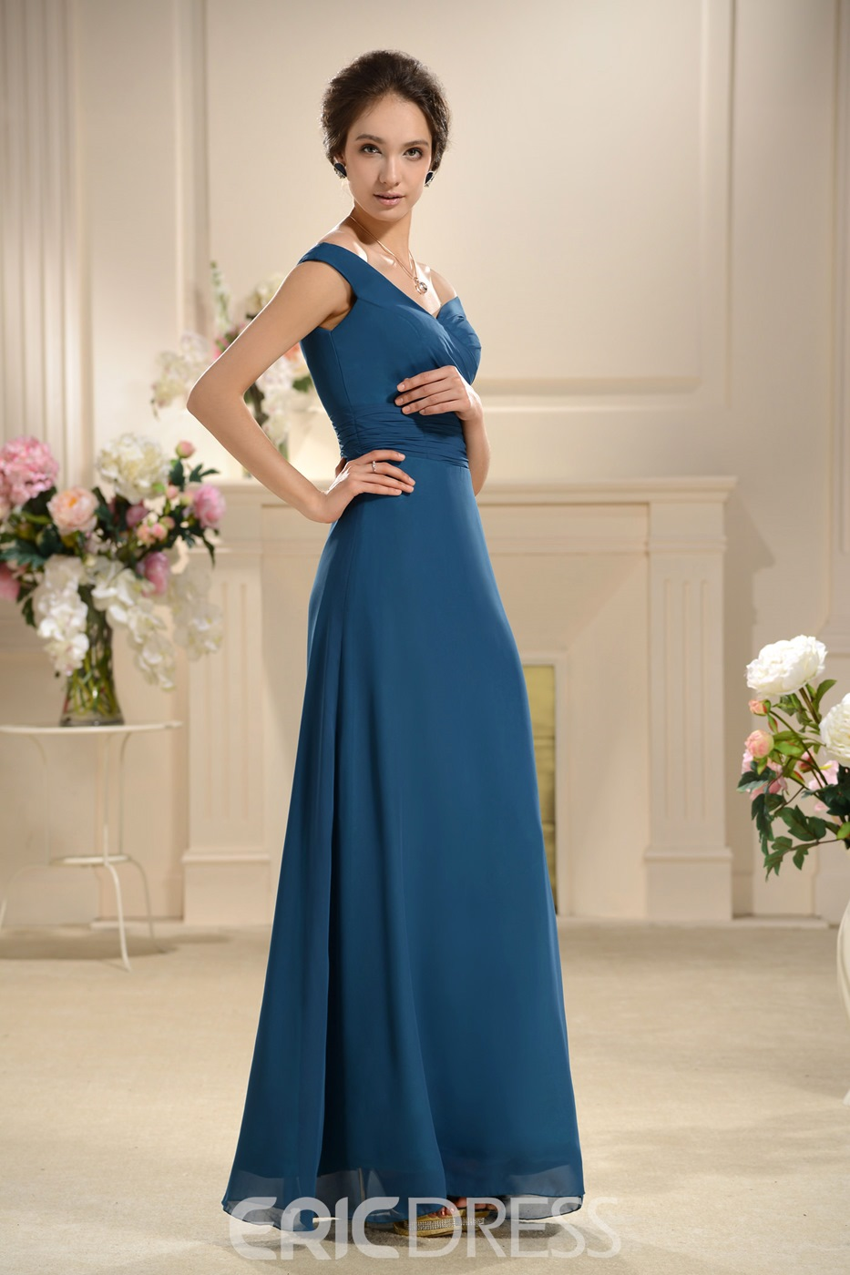 Special A-line Floor Length Off-the-Shoulder Bridesmaids Dress