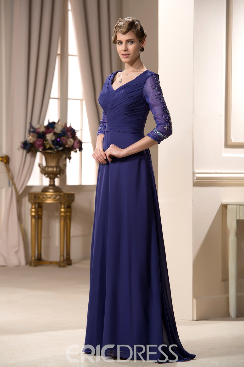 Appliques A-line V-Neck Half Sleeves Mother of the Bride Dress