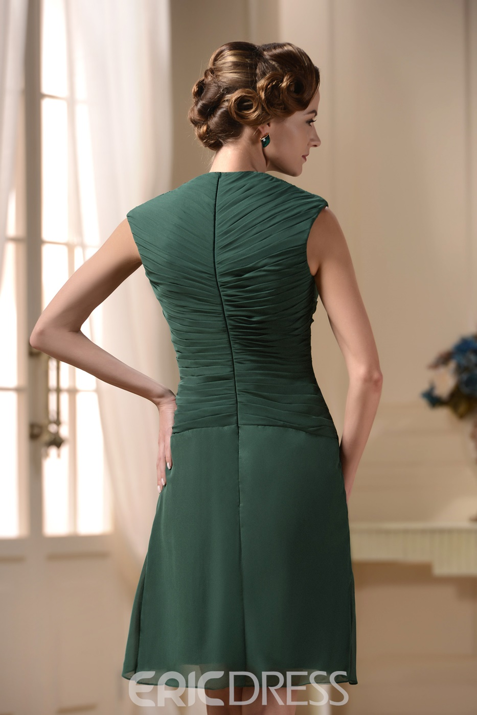 Popular V-neck Short Sleeve Knee-length Pick-up Bridesmaid Dress