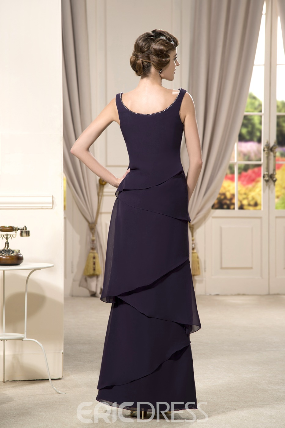 Charming A-line Floor-length Beaded Square Neckline Strapless Evening Dress