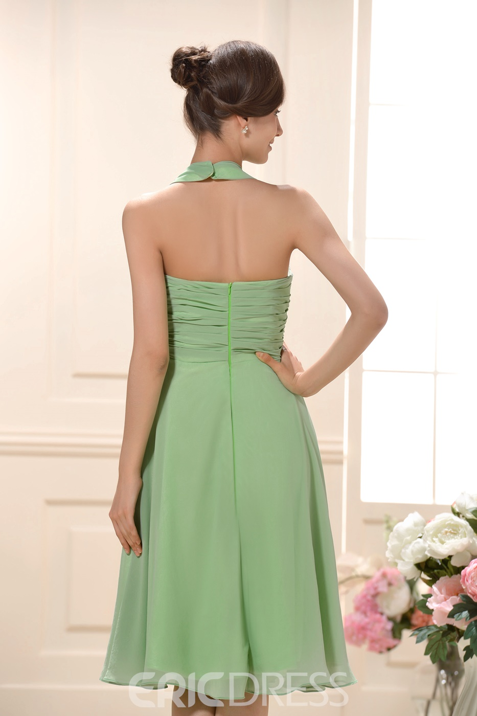 Sexy Ruched A-line Halter Knee-Length Bridesmaid Dress