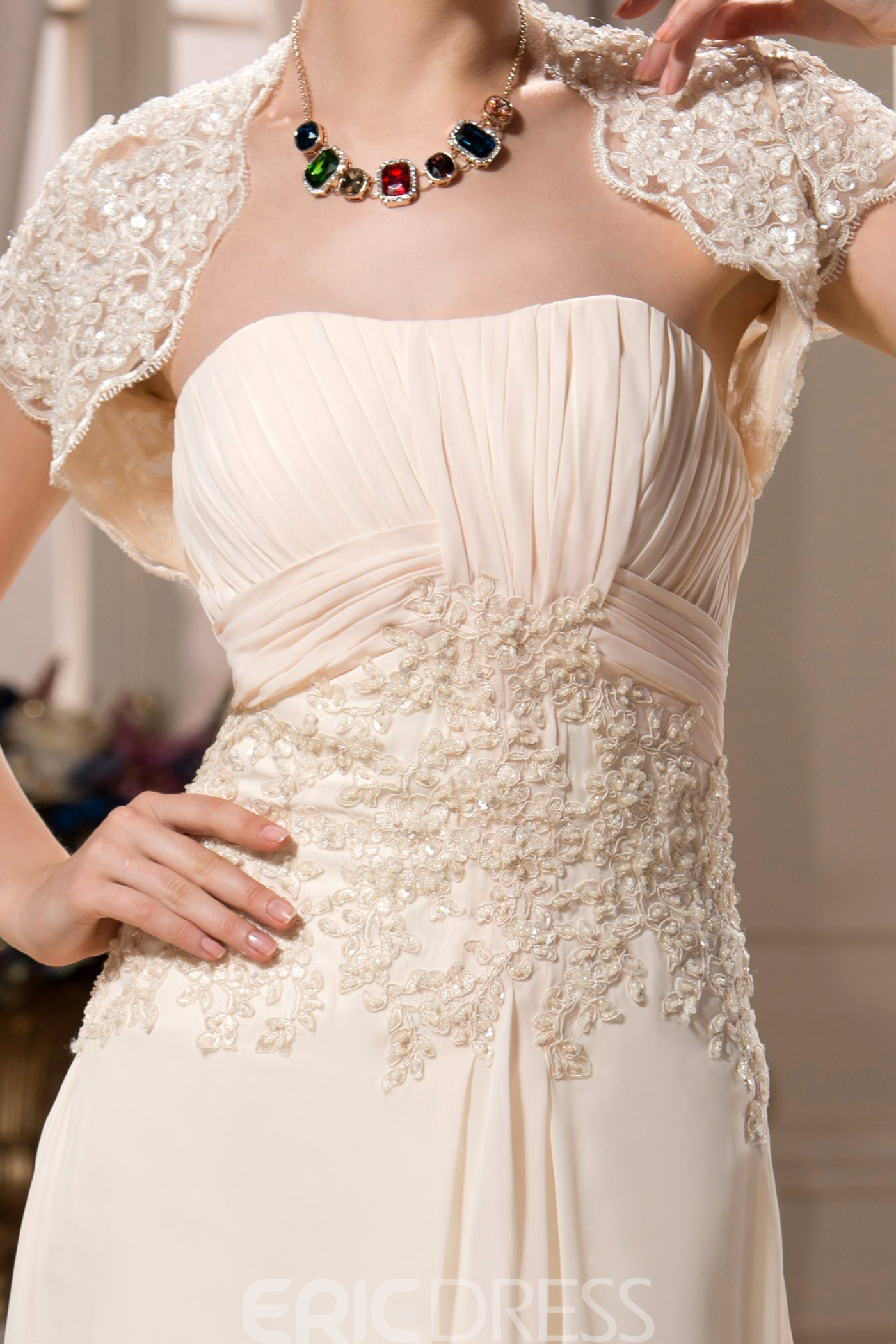 Marvelous Appliques A-Line Floor-Length Strapless Mother of the Bride Dress With Jacket