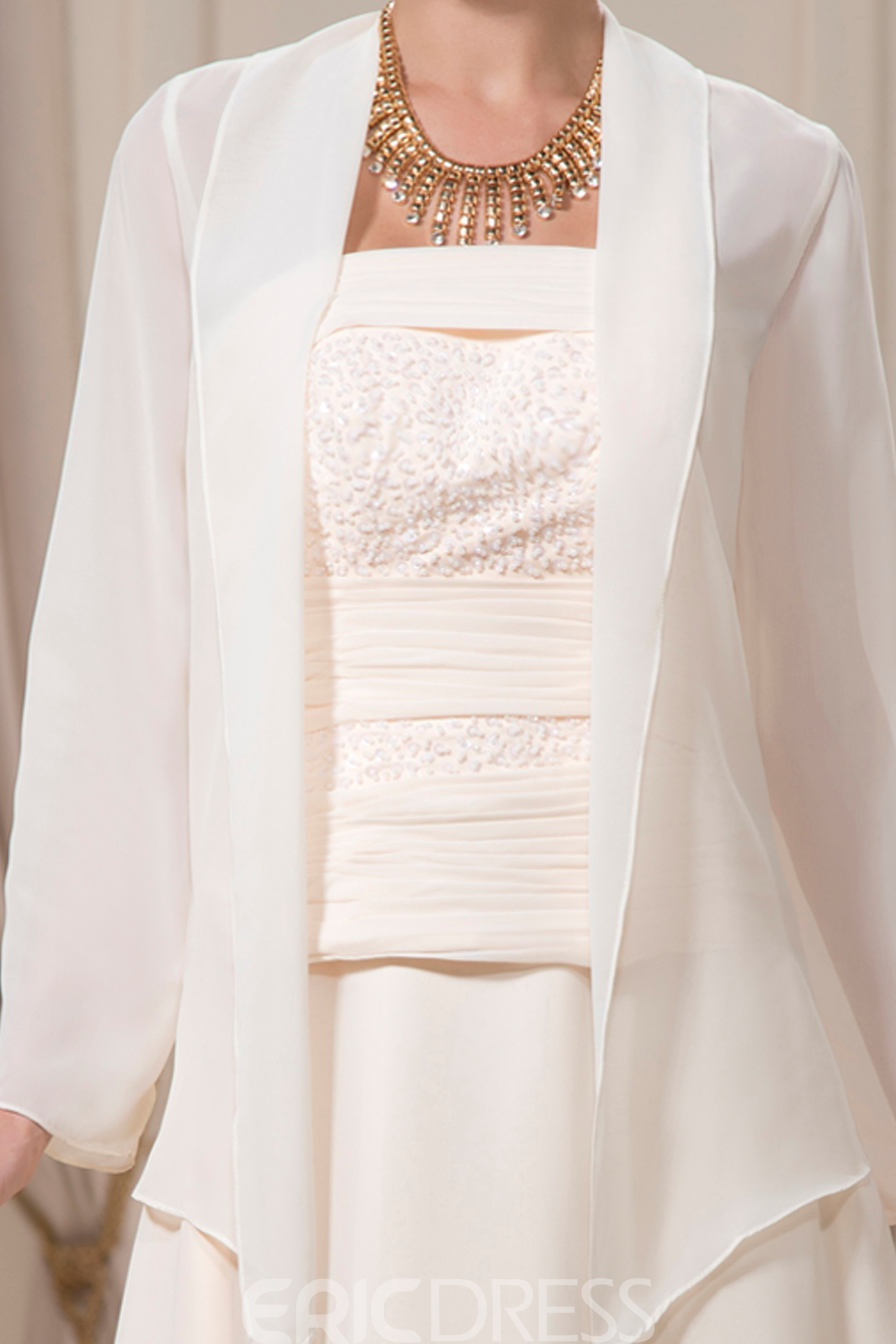 Beaded A-Line Strapless Floor-Length Mother of the Bride Dress with Jacket
