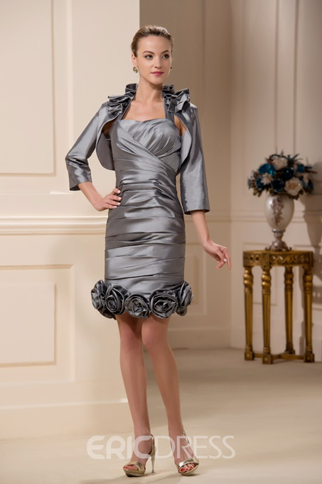 Incredible Sheath/Column Knee-Length Pleats Mother of the Bride Dress