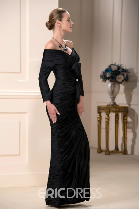 Faddish Off-the-Shoulder Sheath Floor-Length Bowknot Beaded Mother of the Bride Dress