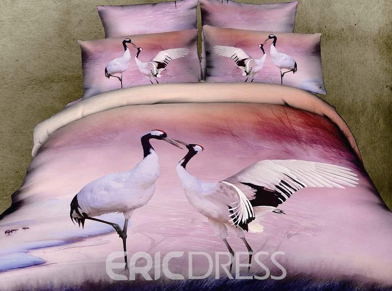 3D Red-crowned Crane Printed Cotton 4-Piece Bedding Sets/Duvet Covers
