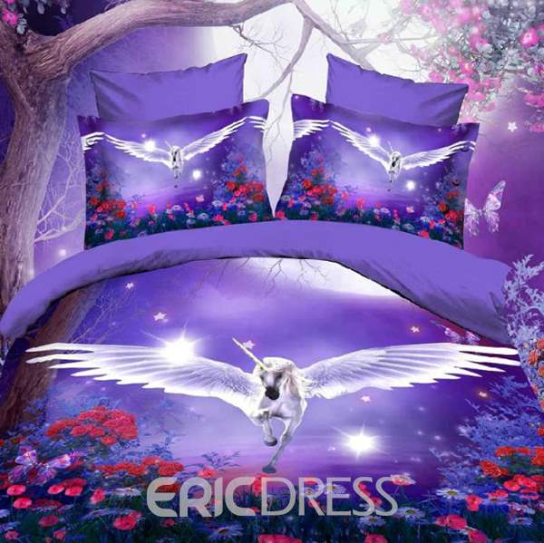 Vivilinen Unicorn with Wings Purple 4-Piece Polyester Duvet Cover Sets