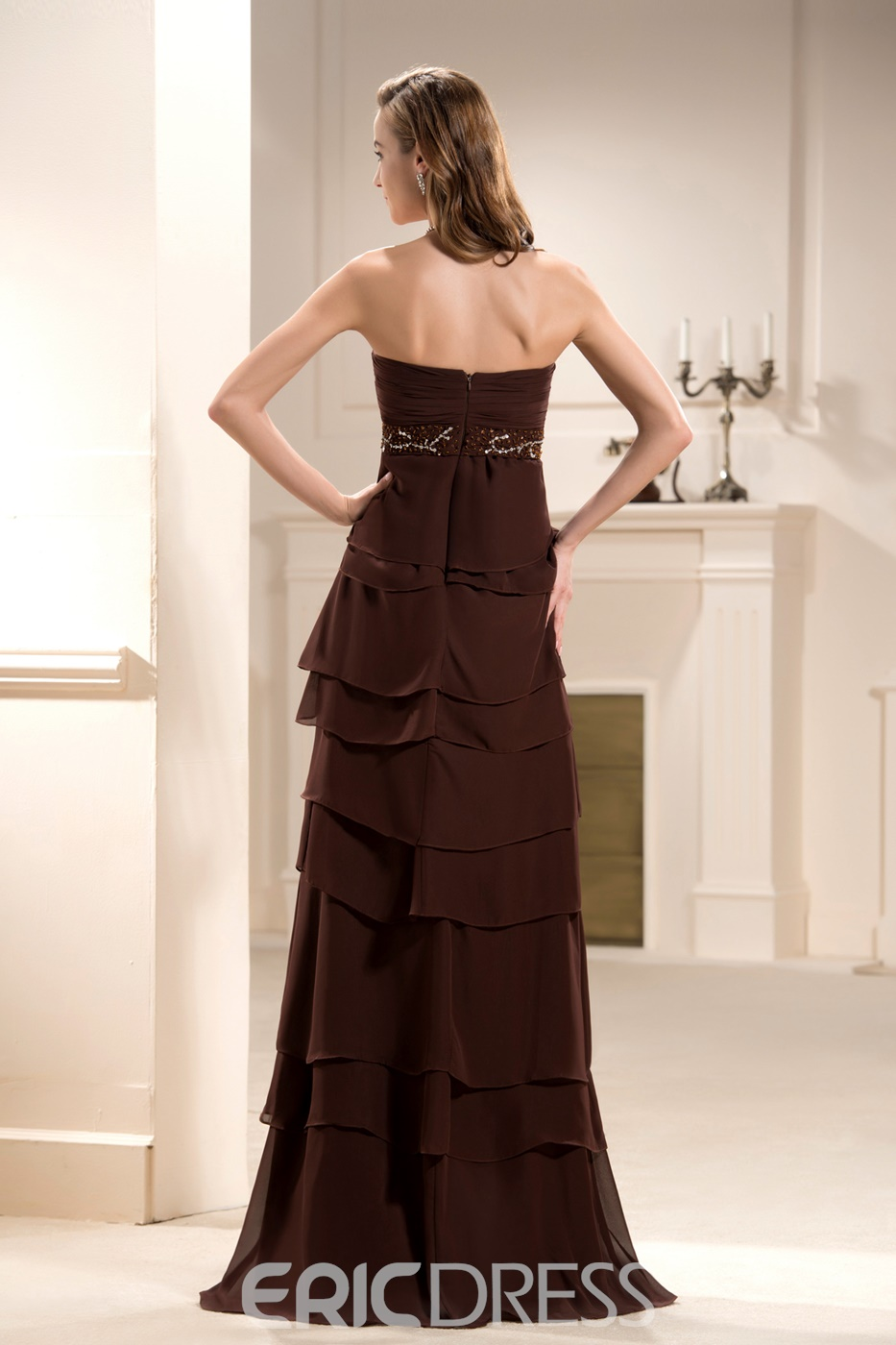 Graceful Beaded Pleats Tiered A-Line Strapless Floor-Length Mother of the Bride Dress