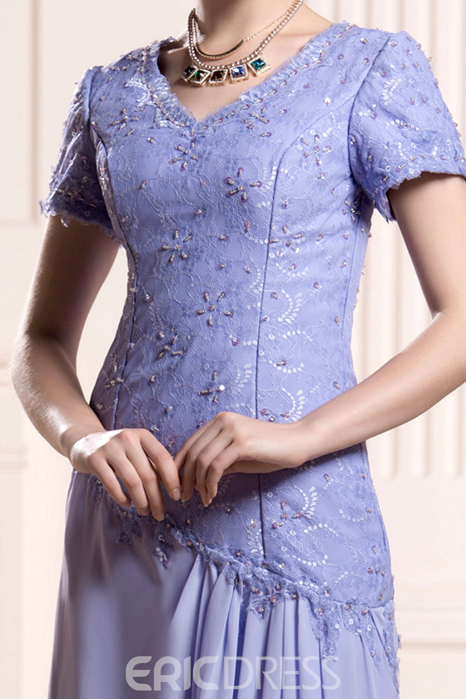 Incredible Lace/Appliques Sheath/Column V-Neck Short-Sleeves Floor-Length Mother of the Bride Dress