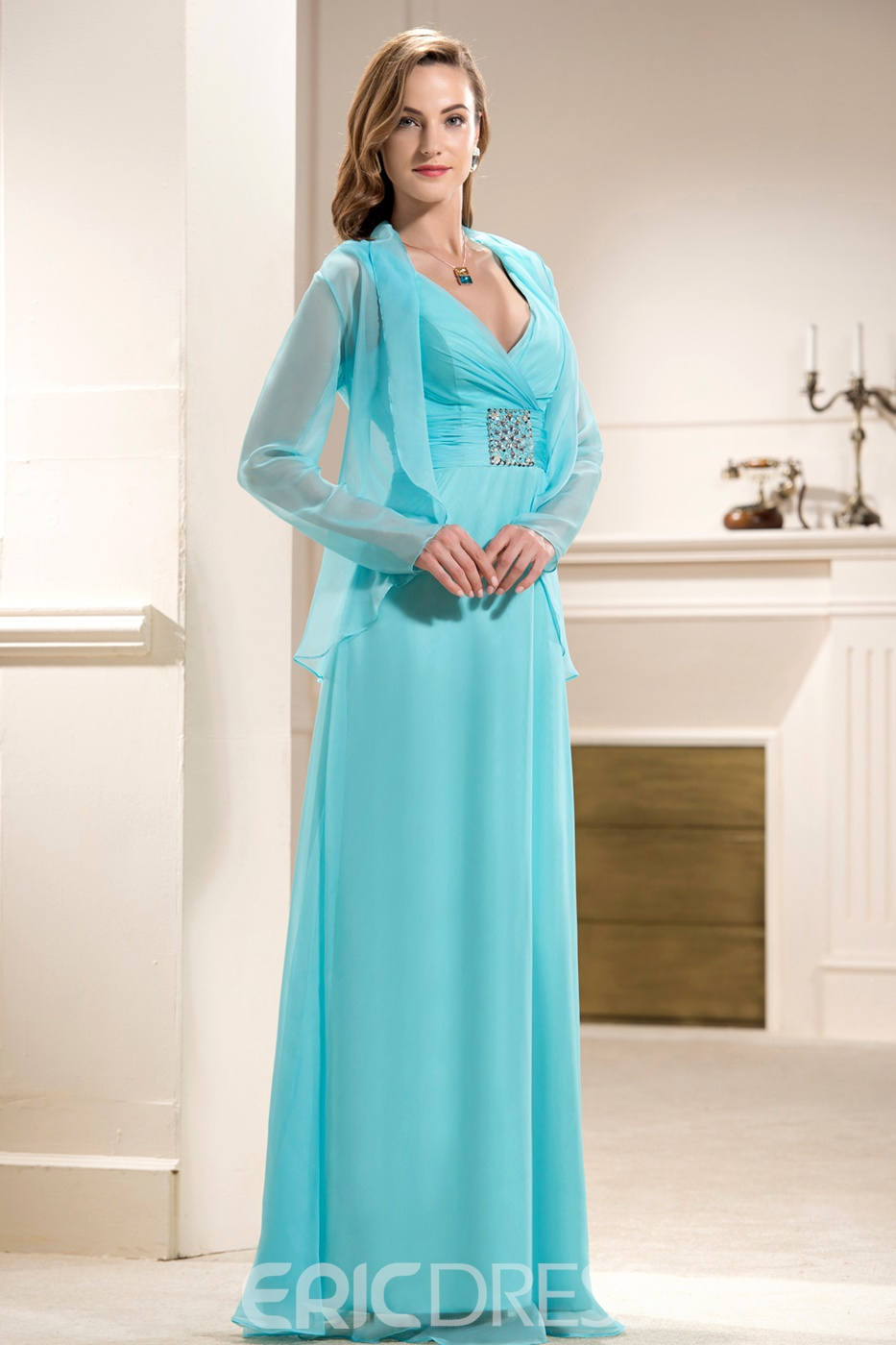 Ericdress Beaded Plus Size Mother of the Bride Dress with Jacket