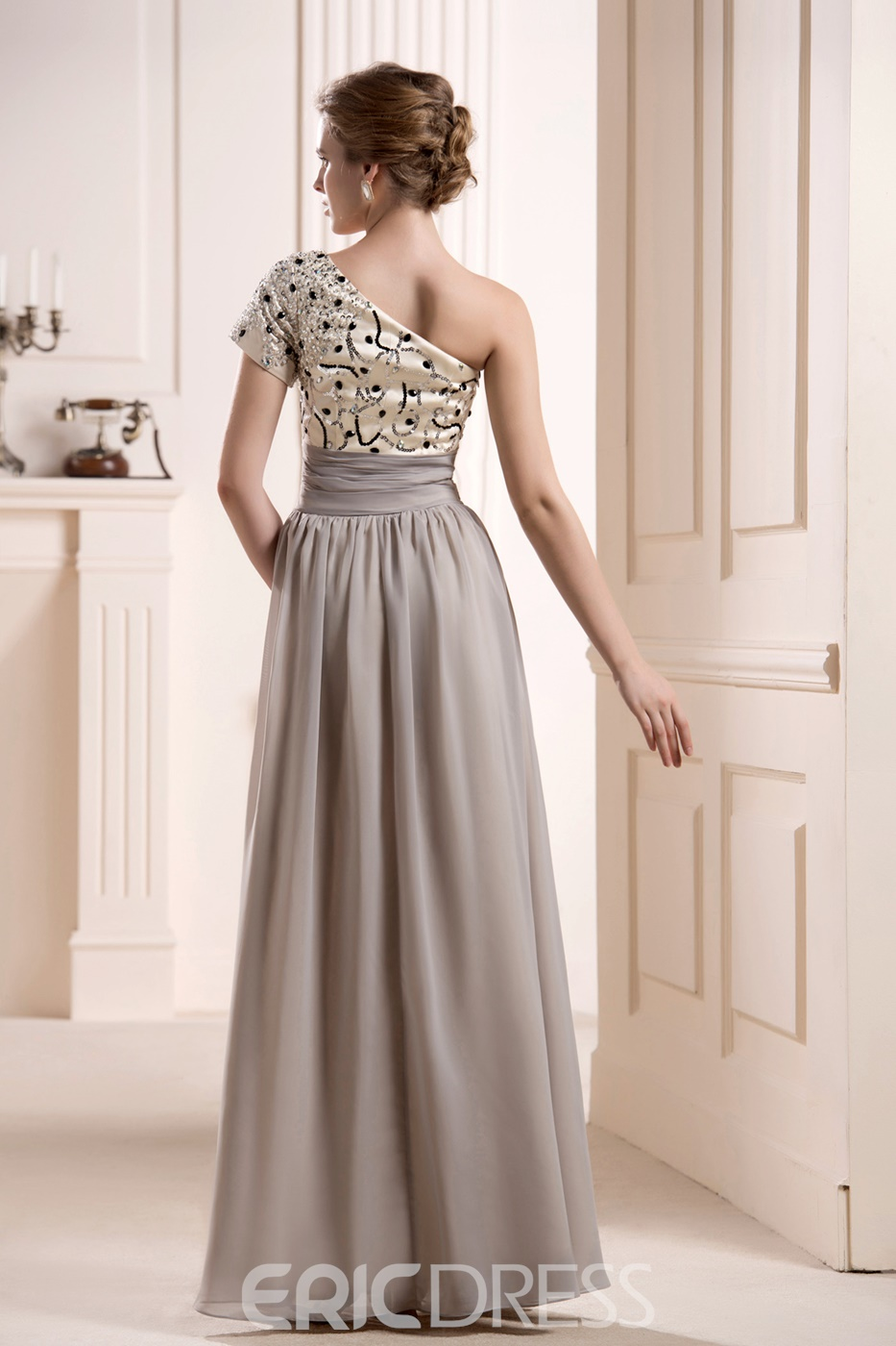 Faddish Sequins/Beaded One-Shoulder Ankle-Length Mother of the Bride Dress