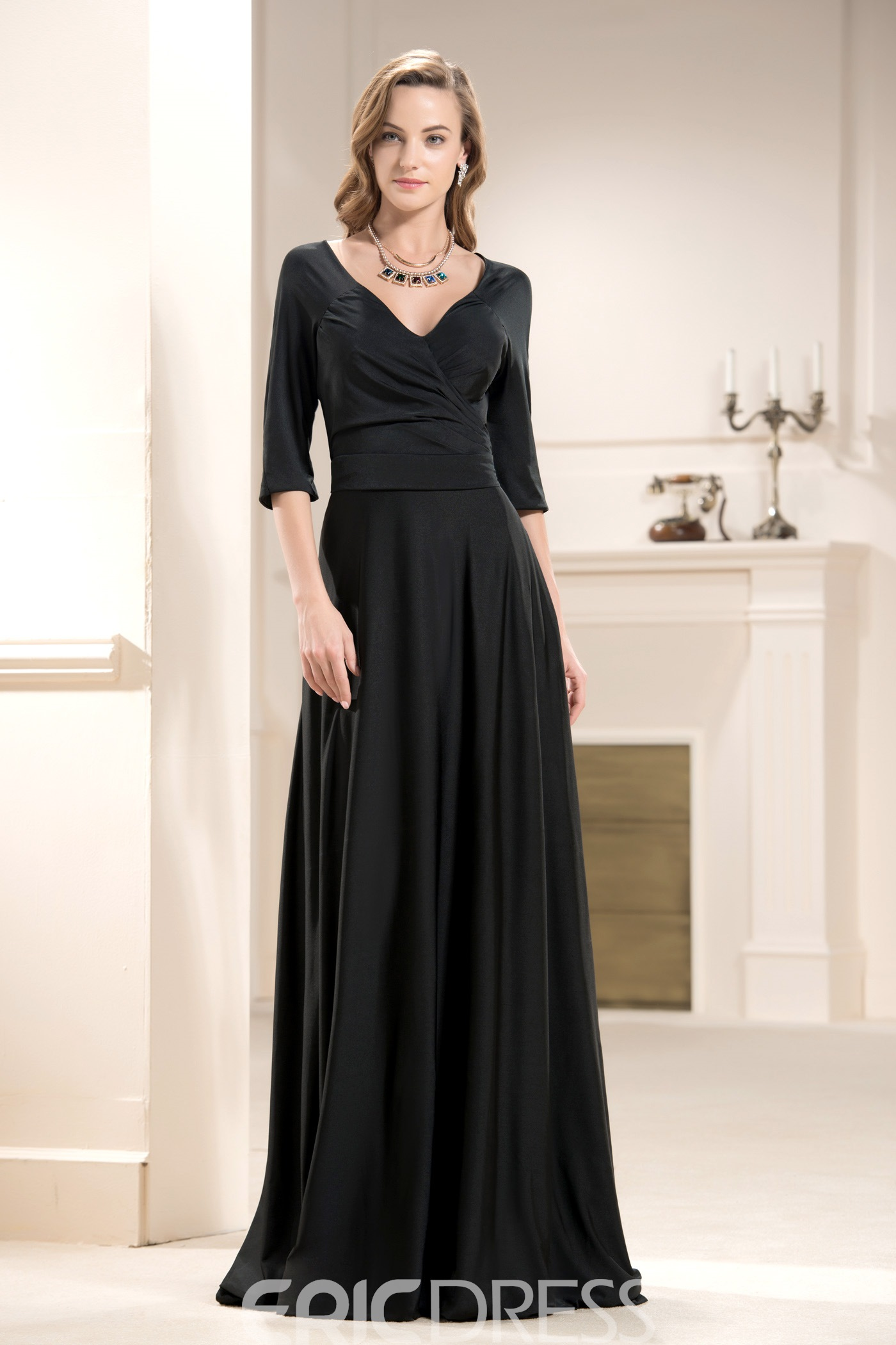 Attractive A-Line Floor-Length V-Neck 3/4-Sleeves Mother of the Bride Dress