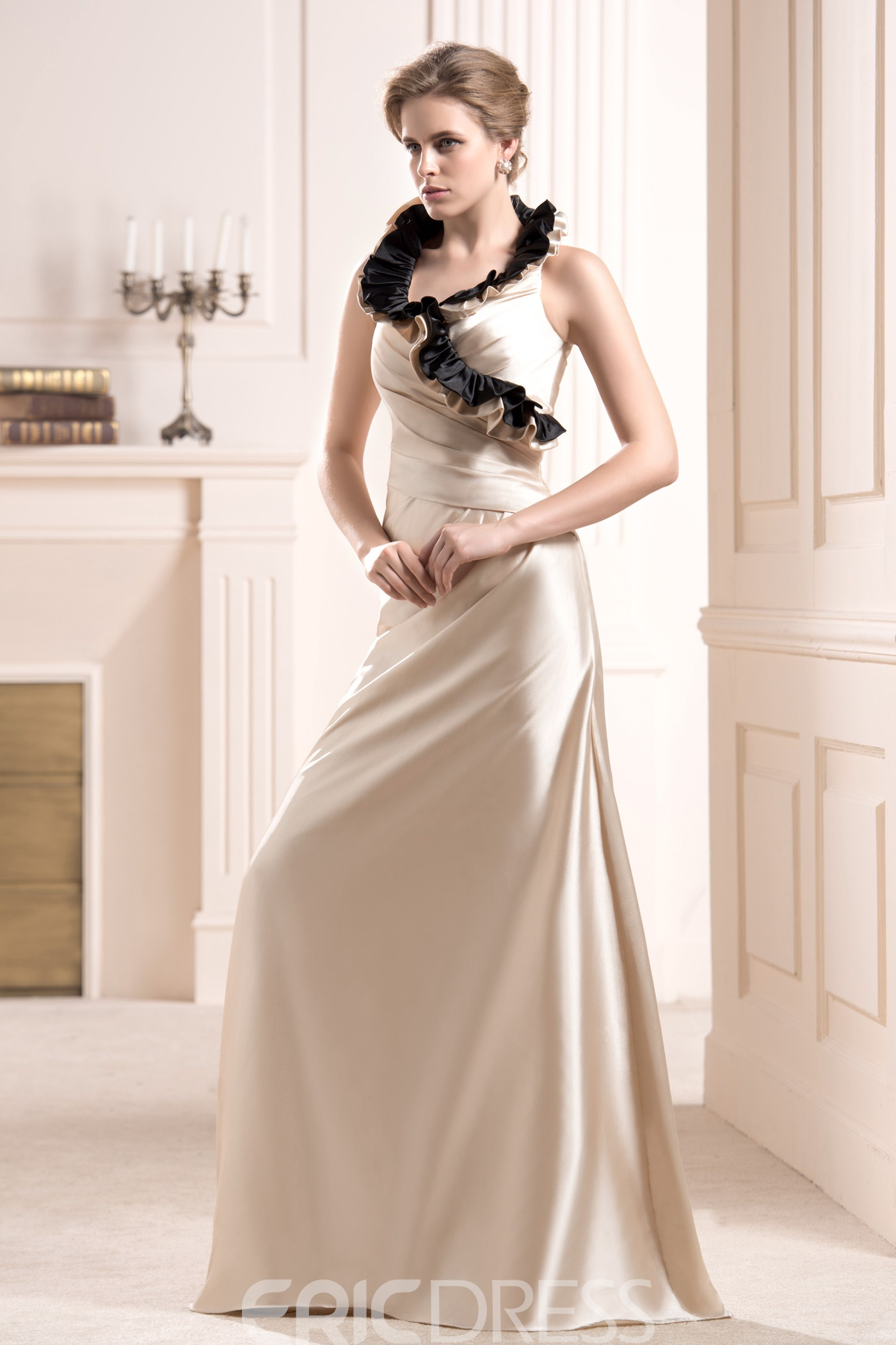 Fantastic Ruffles Sheath Sleeveless Floor-Length Mother of the Bride Dress With Jacket/Shawl