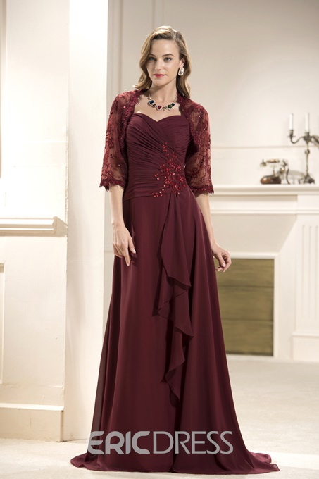 Sequined A-Line Sweetheart Neckline Floor-Length Mother of the Bride Dress With Jacket/Shawl