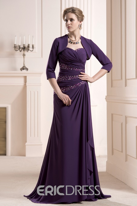 Graceful Beaded Sheath/Column Sweetheart Neckline Sweep Mother of the Bride Dress With Jacket/Shawl