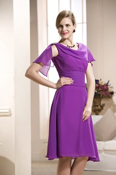 A-Line Scoop Neckline Knee-Length Mother of the Bride Dress