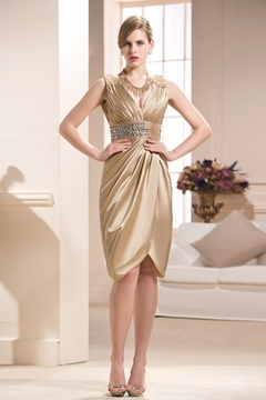 Elegant Beading Split Front Sheath/Column V-Neck Knee-length Mother of the Bride Dress