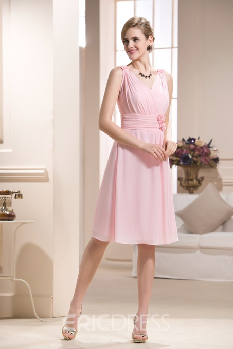 Attractive V-Neck Knee-length Bridesmaid Dress