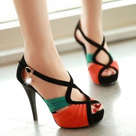 Summer Fashion Contrast Color Crossed Lines Peep Toe Sandals
