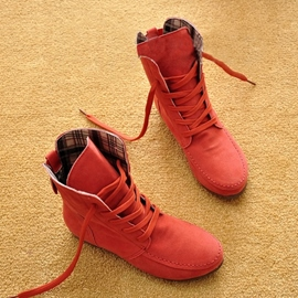 Concise Comfortable Lace-up Suede High-Top Flats