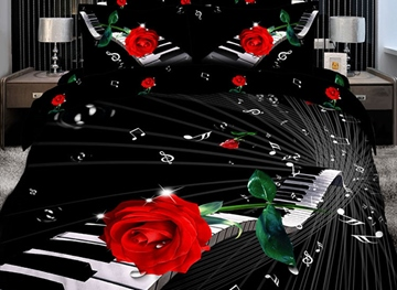 Vivilinen Elegant Piano with Red Rose 3D Print 4-Piece Cotton Duvet Cover Sets