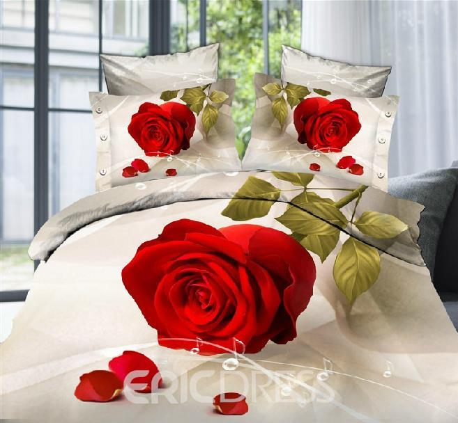 Vivilinen 3D Red Rose and Music Notes Printed Polyester 4-Piece Bedding Sets/Duvet Covers