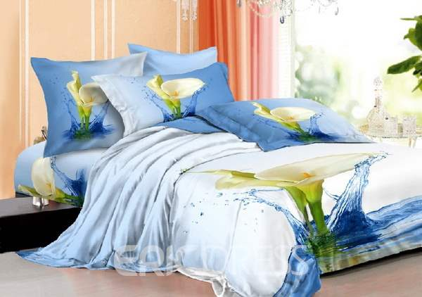 3D White Calla Lily in Water Printed Cotton 4-Piece Bedding Sets/Duvet Covers