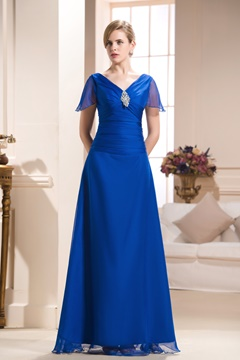 Delicated Pleats A-Line V-Neck Short-Sleeves Floor-Length Mother of the Bride Dress