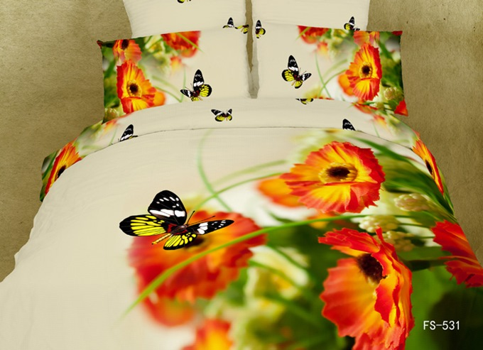 3D Butterfly and Pansy Printed Cotton 4-Piece Bedding Sets/Duvet Cover