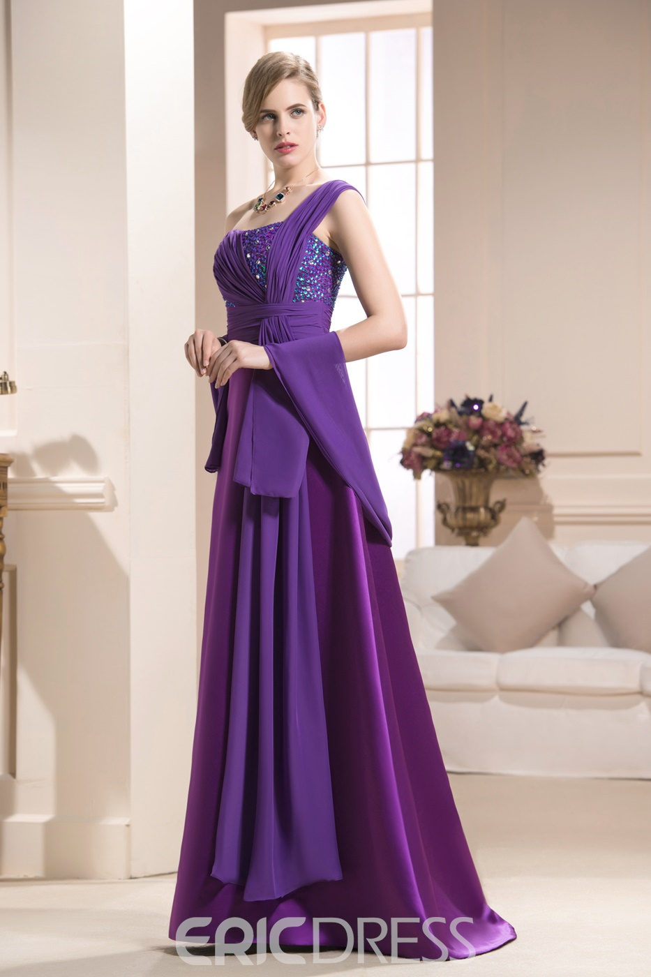 Gorgeous Beading/Sequins A-Line One-Shoulder Floor-Length Mother of the Bride Dress