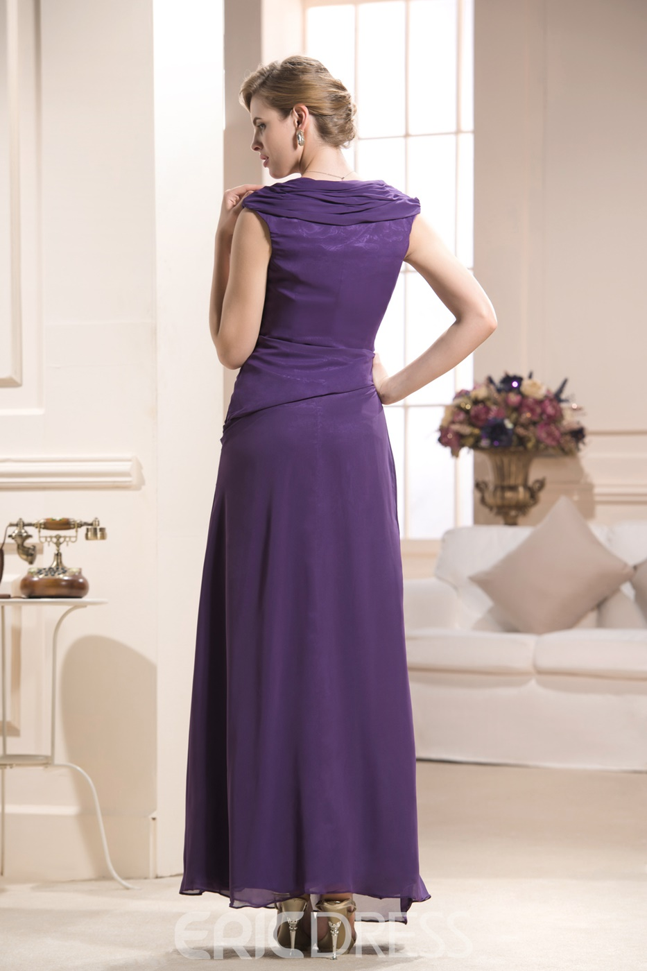 Classy Draped Sleeveless Ankle-length Mother Of The Bride Dress
