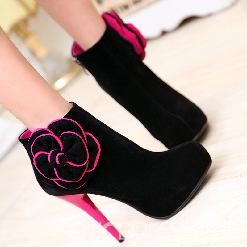 Charming Dull Polish Roes Flower High Stiletto Heel Short Boots