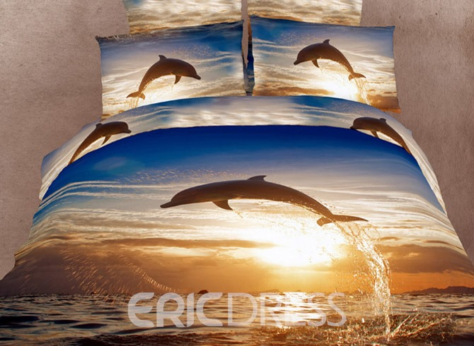 Cool Dolphin Pattern Comfortable 4 Piece 3D Bedding Sets 10720149