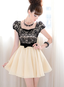 Bow Knot Short Sleeves Lace Dress