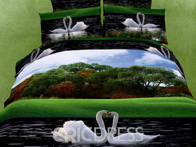 Glamorous Swan Couples Pattern 4 Piece 3D Bedding Sets 10722026