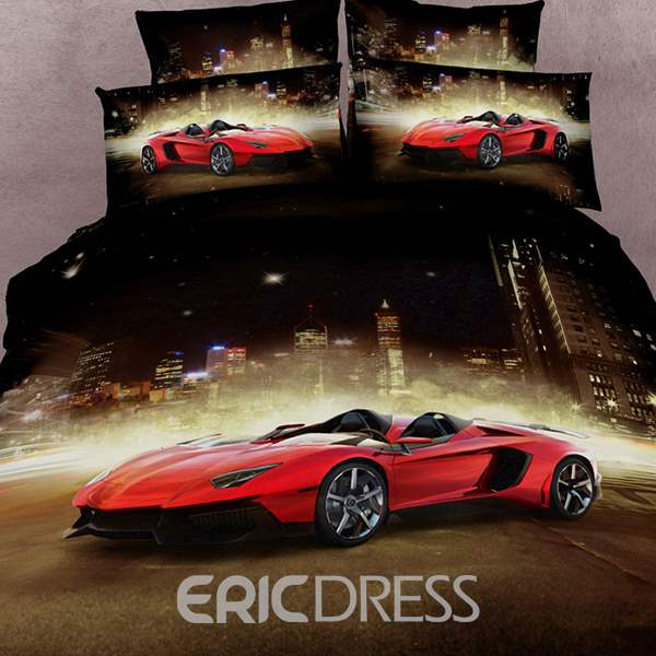 Vivilinen Luxury Sports Car Print 4 Piece Bedding Sets/Duvet Cover Sets