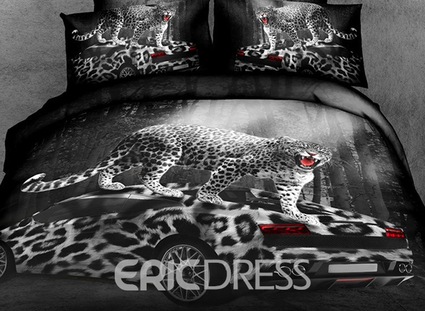 Vivilinen Sexy Leopard with Car Print 4-Piece Cotton Duvet Cover Sets