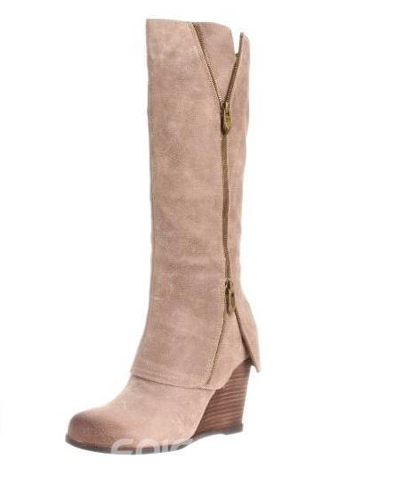 High-class Wedge Knee High Boots with Zipper