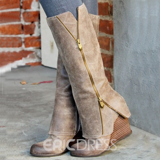 407420c3d2d9 High-class Wedge Knee High Boots with Zipper 10985414 - Ericdress.com