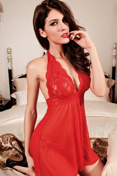 Merry Red Lace Mesh Babydoll