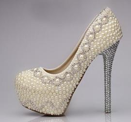 Amazing Sparkle Pearls Platform Stiletto Heels Bridal Shoes