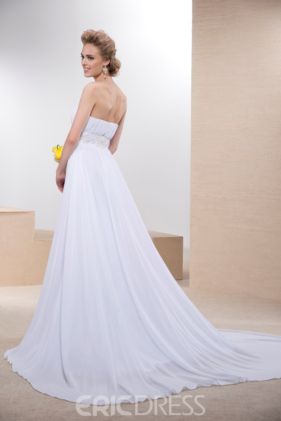 Simple A-line Strapless Wedding Dress