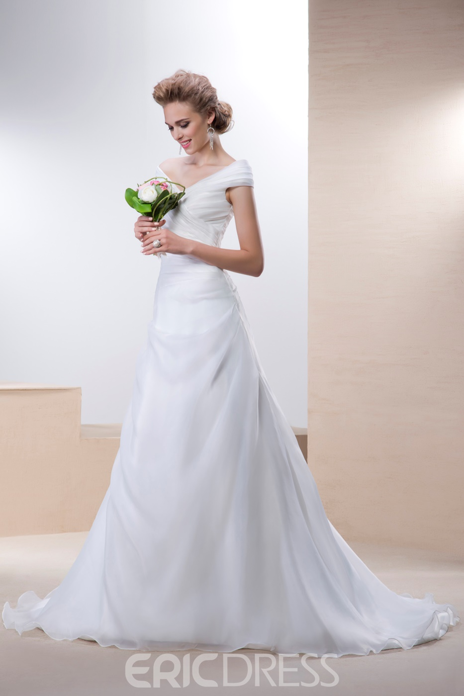 Elegant A-line Off-the-Shoulder Sleeveless Court Train Button Wedding Dress