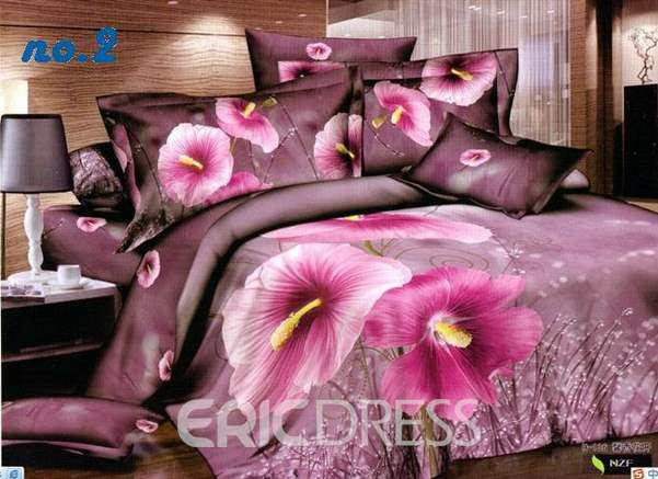 3D Blooming Pink Dutch Crocus Printed Cotton 4-Piece Bedding Sets/Duvet Cover
